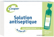 SOLUTION ANTISEPTIQUE CHLORHEXIDINE 0,5% COOPER BTE DE 12